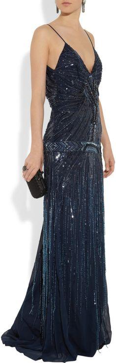Roberto Cavalli Embellished georgette gown