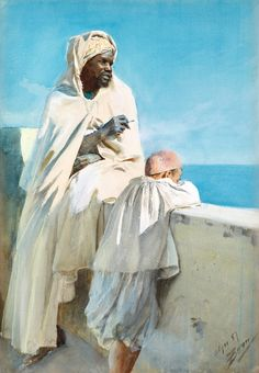 ANDERS ZORN, On the terrace, Algiers. Signed Zorn and dated Alger -87. Watercolour