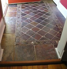 Oohh lala Gorgeous Slate tile Entryway finished with gloss sealer Entryway Flooring, Slate Flooring, Tile Entryway, Kitchen Flooring, Floor Design, Tile Design, House Design, Home Renovation, Home Remodeling
