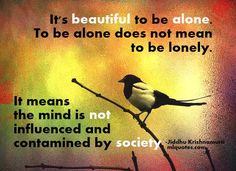 Quote about spirituality and society:    It's beautiful to be alone. To be alone does not mean to be lonely. It means the mind is not influenced and contamined by society.  Jiddu Krishnamurti