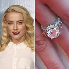 Johnny Depp proposed to Amber Heard with a five-carat round diamond, featuring intricate scrollwork on the band and a slightly raised setting. Celebrity Engagement Rings, Engagement Ring Photos, Platinum Engagement Rings, Antique Engagement Rings, Celebrity Jewelry, Round Diamonds, Wedding Bands, Bling, Amber Heard