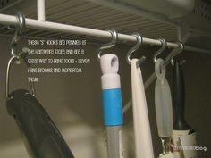 S Hooks make hanging & organizing brooms a breeze.  <3 this idea! - MilitaryAvenue.com