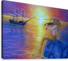 Fine Art, for sale, online, oil painting,  contemporary, figurative, imaginary, realism, fantasy, colorful, purple, mermaid, merpeople, sitting, playing, violin, fiddle, music, nautical, marine, sailboat, ship, seascape, sunset, mythical, mythological, legendary, theme, creature, fish, water,ocean, scene, summer, sunshine,on the rock, romantic,atmospheric, beautiful, nostalgic, nude,feminine,pose, canvas print #homedecorideas