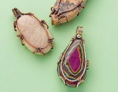 Here's a refresher on six ways you can alter wire for more interesting wire jewelry making designs, including bezels and rings. - from Make Wire-Wrapped Bezels for Stones: 6 Ways to Perk Up Your Wire Jewelry Making - Jewelry Making Daily #JewelryInspiration #wireringsdesigns #wirewrappedringsdesign #wirewrappedringsstones