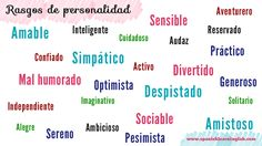 vocabulary for personality traits in Spanish and how to use the verb SER to make sentences and questions. Find several conversations about personality in Spanish and practice with a quiz. Spanish Sentences, Spanish Vocabulary, Spanish Words, Spanish Grammar, Spanish Language, Spanish 1, Vocabulary List, Spanish Teacher, Spanish Classroom