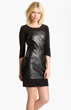 There is not much I like about black leather, except this dress. I think I would feel insanely badass wearing it!  Laundry by Shelli Segal Leather Inset Dress available at #Nordstrom