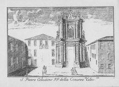 """Chiesa di S. Pietro Celestino, via Senato, Milano. Marc'Antonio Dal Re, """"Vedute di Milano"""", incisione 82 (ca. 1745)."""