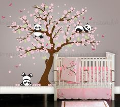 Cherry Blossom Wall Decal Playful Pandas in door InAnInstantArt