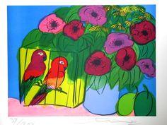 2 Parrots - gesigneerde zeefdruk - oplage 200 ex. - 1982   72 x 55 cm