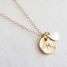 (99+) Initial Charm With Gold Filled Heart Necklace from Teilla