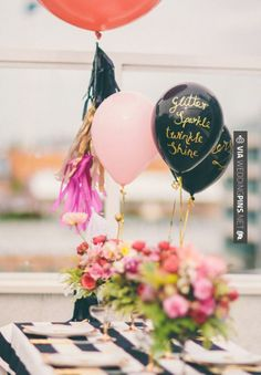 Awesome - love the balloons   CHECK OUT MORE GREAT BLACK AND WHITE WEDDING IDEAS AT WEDDINGPINS.NET   #weddings #wedding #blackandwhitewedding #blackandwhiteweddingphotos #events #forweddings #iloveweddings #blackandwhite #romance #vintage #blackwedding #planners #whitewedding #ceremonyphotos #weddingphotos #weddingpictures