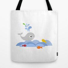 Splashing whale tote bag on society6 by Limitation Free