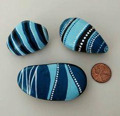 Set of 3 Hand Painted Rocks Geometric Style by QuietRiotStudio