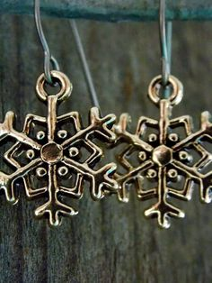 Titanium Snowflake Earrings Gold Plated Snowflake Charms on Hypoallergenic Titanium Ear Wires by AliCsCreations on Etsy