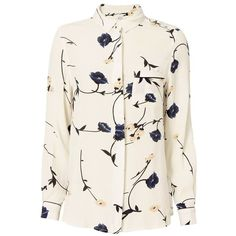 Ganni Women's Dalton Crepe Shirt ($130) ❤ liked on Polyvore featuring tops, floral, floral shirt, white shirt, floral print shirt, white floral top and floral print tops