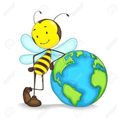 Editable Vector Of Bee Standing With Globe Royalty Free Cliparts, Vectors, And Stock Illustration. Image 14504569.
