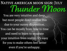 Native American Moon Sign: July Thunder Moon Added by Pinner: ironic considering my fear of storms Native American Zodiac Signs, Native American Wisdom, July Cancer, Cancer Moon, Tarot, Cancerian, Moon Signs, Astrology Signs, Cancer Astrology
