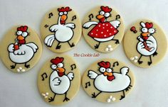 The Cookie Lab:  dancing chickens decorated cookies