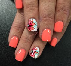 Summer Nail Art 2019 Ideas to give you that invincible shine and confidence - Hike n Dip Exciting Summer nail art for you to get into the vacation mode. I am sure these summer nail designs will make you ready for your summer parties and trips. Bright Summer Nails, Cute Summer Nails, Spring Nails, Cute Nails, Bright Coral Nails, Summer Nail Art, Coral Ombre Nails, Nail Art Ideas For Summer, Summer Shellac Nails
