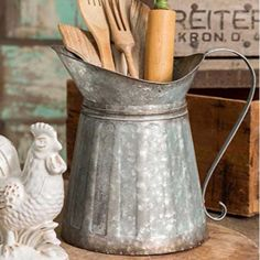 Kitchen Decorating Rustic Metal Milk Pitcher - Product Details - Manufacturer: CTW - Material: Metal - Metal Finish - Size: x x - For Decoration Only Country Farmhouse Decor, Farmhouse Kitchen Decor, Home Decor Kitchen, Diy Kitchen, Diy Home Decor, Kitchen Utensils, Modern Farmhouse, Country Primitive, Rustic Decor