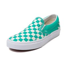 Shop for Vans Slip-On Chex Skate Shoe in Aqua White at Journeys Shoes. Shop today for the hottest brands in mens shoes and womens shoes at Journeys.com.Vans classic Slip-On skate shoe featuring the ever popular checkerboard canvas upper. Sports a padded collar for comfort and vulcanized rubber skate sole with waffle tread. This Vans Slip-On Chex features a bold aqua and white colorway. Available only online at Journeys.com and SHIbyJourneys.com!