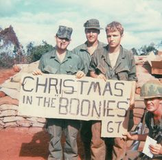 """Christmas in the 'Boonies'; 67"" 22nd Infantry Regiment troops celebrate Christmas, 1967. ~ Vietnam War"