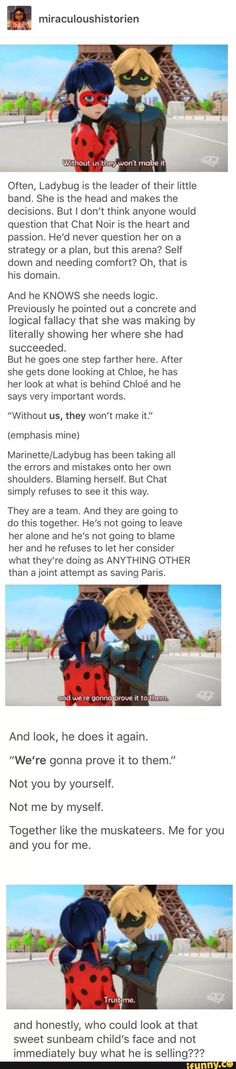 Ladybug being logic and chat noir being heart