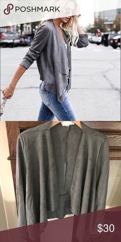 Assymetrical suede blazer jacket. VeryComfortable Gray suede asymmetrical blazer jacket. Comfortable and roomy! Wear with jeans or over a dress! Jackets & Coats Blazers