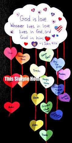 This Simple Home: Love Rainbow Craft...I will adapt this for my public school as a character trait project!