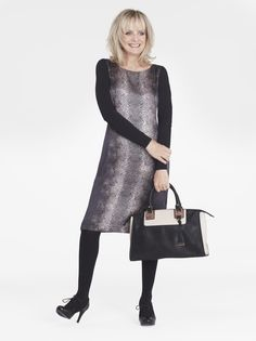 Twiggy for Marks and Spencer Collection Pure Silk Faux Snakeskin Print Dress