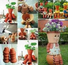 clay pot flower people for your garden. #diy #gardening #clay pot