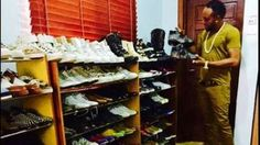 Between Kcee and Chris Brown, who has a better shoe collection (photos)
