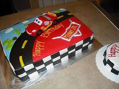 Disney Cars bday cake a sheet cake would be easy to cut and would eliminate the need for cupcakes