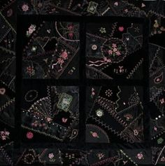 crazy quilting - omg, love the black background! by sammsfamily