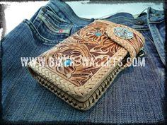 """""""Southwest"""" 6"""" Custom Handmade Leather Men's Biker Wallet"""