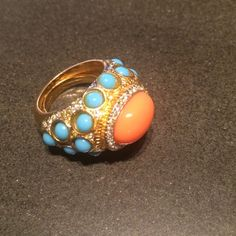Kenneth Jay Lane Cocktail Ring Turquoise and coral stones, plus crystals in yellow gold setting; worn less than ten times Kenneth Jay Lane Jewelry Rings
