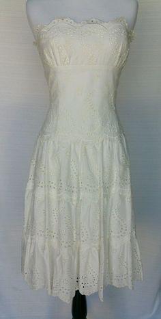 NWT BCBG MAXAZRIA Strapless Eyelet Cotton Off White Dress Size 6 MSRP $280 | eBay