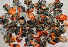 Orange Camouflage Petals - Orange Camo Petals - Loose Orange Camo Petals - Camo Petals - Camo Wedding - Camouflage - Satin Camouflage Petal