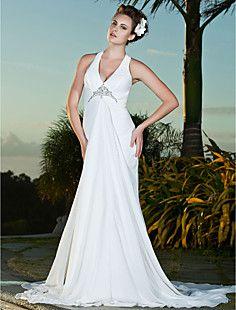 Sheath/Column V-neck Court Train Chiffon Wedding Dress – CAD $ 174.29