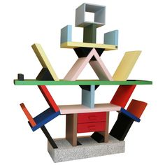 Memphis W. Carlton; bookcase room divider by Ettore Sottsass | 1stdibs.com