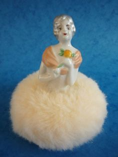 Superb Large Art Deco Powder Puff with Porcelain Half Doll | eBay