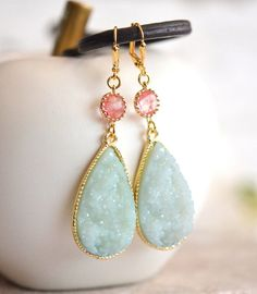 Pale Mint Teardrop and Grapefruit Pink Stone Dangle by RusticGem