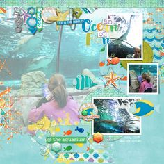 aquarium scrapbook page by Justine with The Lilypad products  #4photos