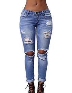 Burvogue Womens Blue Denim Stretch Jeans Skinny Distressed Pants *** You can get more details by clicking on the image.