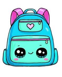 Cute backpack drawing More at @ Kawaii Girl Drawings, Cute Food Drawings, Cute Animal Drawings Kawaii, Cute Little Drawings, Disney Drawings, Kawaii Disney, Griffonnages Kawaii, Doodles Kawaii, Cute Doodles