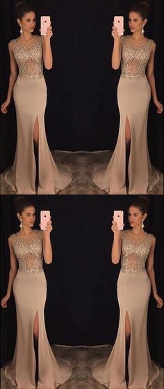 New Elegant Prom Gown Evening Dress round neck sequin mermaid chiffon long prom dress, sequin evening dress For Women Maxi Dresses Formal Gown