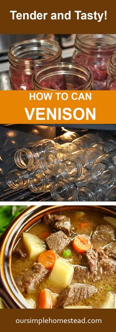 How to Can Venison - Tender and Tasty! The easiest way to can venison The flavor and texture of canned venison is unlike anything I can describe. It's tender, tasty and makes an excellent addition to any stew or hearty dish you make! Canning Venison, Venison Stew, Venison Recipes, Meat Recipes, Recipies, Pressure Canning Recipes, Canning Tips, Meat Store, Canned Meat