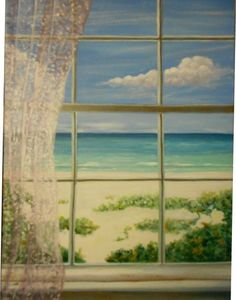 Oil Painting Window with a View to the Beach by MARVINSTUDIO https://www.etsy.com/shop/MARVINSTUDIO?ref=hdr_shop_menu
