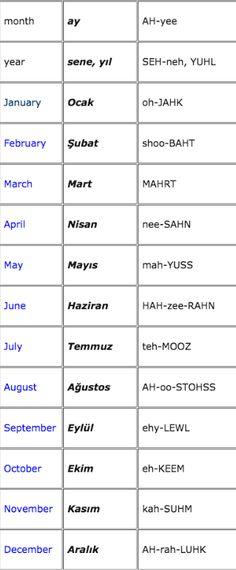 months in Turkish