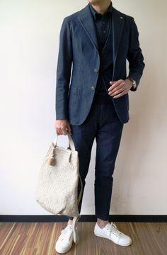 GLORYGUY & Cachette|型を破るなら、インディゴブルーです!? TAGLIATORE/タリアトーレのチェスター型コート「COLORADO」とインディゴ繋がりのジャケット「SAHARA」&ジレ「BRIAN」&パンツ「TAGO1」
